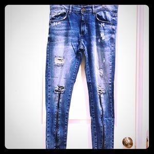 Zara Men's Zipper Leg Ripped Knee Denim Jeans